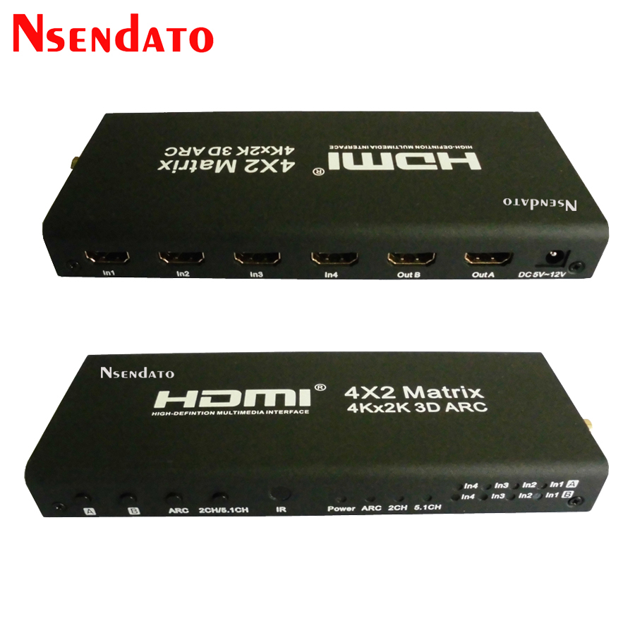 4x2 HDMI Matrix Switch Splitter Support ARC 4Kx2K HDMI To HDMI Splitter Extender Hub Box For PS3 For Xbox 360<br>