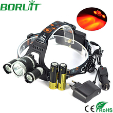 Boruit 8000LM XML-T6 2 XPE Red LED Headlight 3-Modes Rechargeable Headlamp Hunting Head Torch Fishing Light Camping Lamp