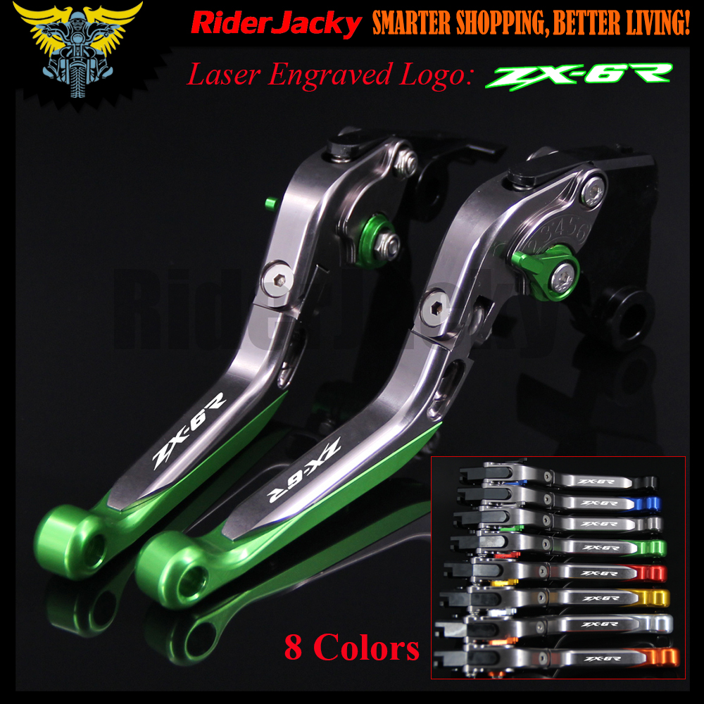 Green&amp;Titanium CNC Adjustable Motorcycle Brake Clutch Levers For Kawasaki ZX6R/636 ZX-6R 2007-2016 2008 2009 2010 2011 2012 2014<br>