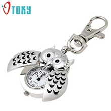 Excellent Quality New Design Womens Mini Metal Key Ring Owl Double Open Quartz Watch Clock- Silver For Christmas Gift