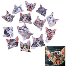 Prajna Pocket Cat Patch High Quality Lifelike 3D Embroidery Patches Clothes Fabric Stickers Iron On Cute Cat Applique For Jeans(China)