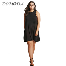 Buy DOMODA 2017 Big Size Fashion Women Clothing Casual Solid Loose Basic Summer Dress O-Neck Sleeveless Plus Size Dress 4XL 5XL for $15.29 in AliExpress store