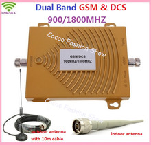 Hot Sell Dual Band GSM 900MHZ & DCS 1800mhz Cellular Signal Booster GSM Repeater DCS amplifier +indoor outdoor antenna 1Sets(China)