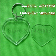 Free shipping 35pcs/lot Heart Shaped Transparent Blank Insert Photo Picture Frame Key Ring Split keychain