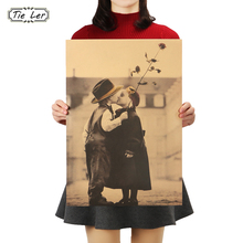 TIE LER Happy Memory Childhood Retro Kraft Paper Wall Sticker Paper Craft Vintage Poster Decoration Painting 51.5X36cm(China)