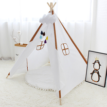 Four Poles Play Tent For Kids Solid Color Children Teepee Oxford Cloth Tipi For Baby Room Playhouse(China)
