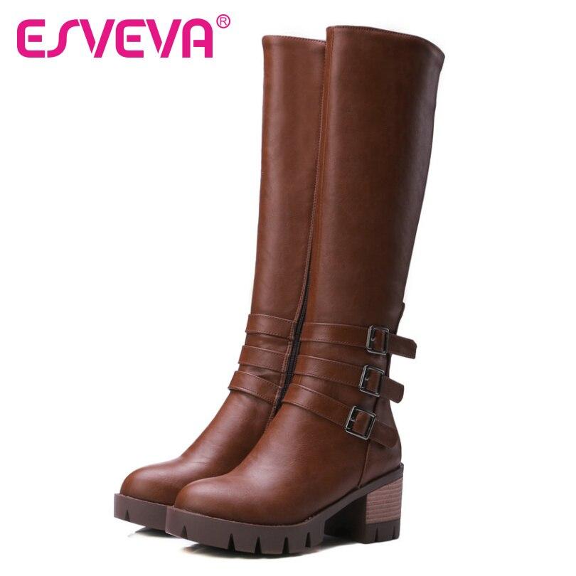 ESVEVA 2017 Brown Punk Autumn Shoes Women Fashion Riding Boots Square High  Heel Ladies Platform Knee High Boots Plus Size 34-43<br>