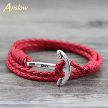 Anslow Fashion Jewelry 40cm PU Leather  Bracelets Men  Anchor Bracelet For Women Best Men Friendship Christmas Gift LOW0018LB