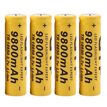 Best Price 4Pcs 3.7V 18650 9800mah Li-ion Rechargeable Battery For LED Flashlight Torch(China)