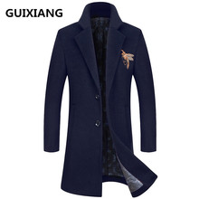 2017 Winter Men's fashion thicken embroidered overcoat jacket Men's high quality casual trench coat jackets woolen men windbreak(China)