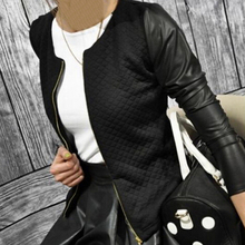PU Leather Casual Zip Long Sleeve Chic Stylish Top Outwear Parka Coat Zipper Patchwork Baseball Jacket For Women