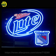"Business NEON SIGN Signboard For NEW YORK RANGERS MILLER LITE REAL GLASS Tube BEER BAR PUB Club Shop Light Signs 17*14"" board"