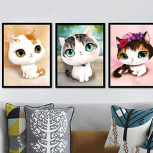 CNA DIY 5D Diamond Round Crystal Rhinestone Cat Painting Cross Stitch Kits Diamond Embroidery Cartoon Animal Gift Child JR0046