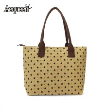 Women Handbags Canvas Lady Shoulder Bags Dot Flower Vintage Style Brand Design Women's Shopper Bag Feminina Casual Totes(China)