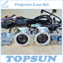 "2.5"" WST Projector Lens, Cover, 35W H1 HID Xenon Bulb, Ballast, CCFL Angel Eyes, High/Low Beam Control Wire, Free Shipping(China)"