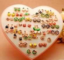 OMH wholesale 36Pair Yellow Green Mix Fashion Girl Flowers Apple Loving heart Star Stud Earrings EH296