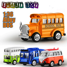 1:36 Diecast Alloy Vehicles 4Classic Bus Model Alloy  Lighting sound Toy Metal Car Toy Model Mini Pull Back  Collection model
