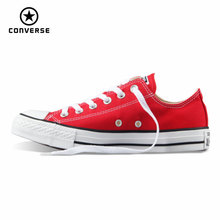 Original Converse all star canvas shoes women man unisex sneakers low classic women Skateboarding Shoes red color free shipping(China)