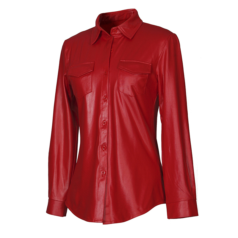 Kostlich Sexy Pu Leather Long Sleeve Blouse Women Shirts Fashion Spring Autumn Women Tops Black Red Ladies Blouses Casual Shirt (23)