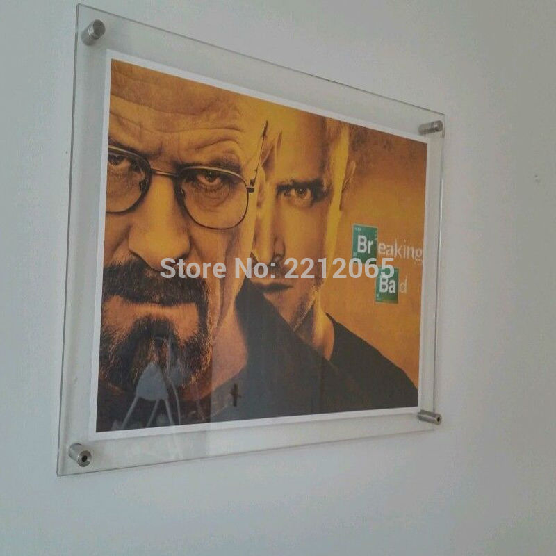 Wall mounted plexiglass poster frames
