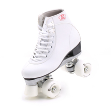 Gift RENIAEVER, double row skating shoes white shoes 4 color white wheels wine red pink black wheels skates aluminum alloy base(China)