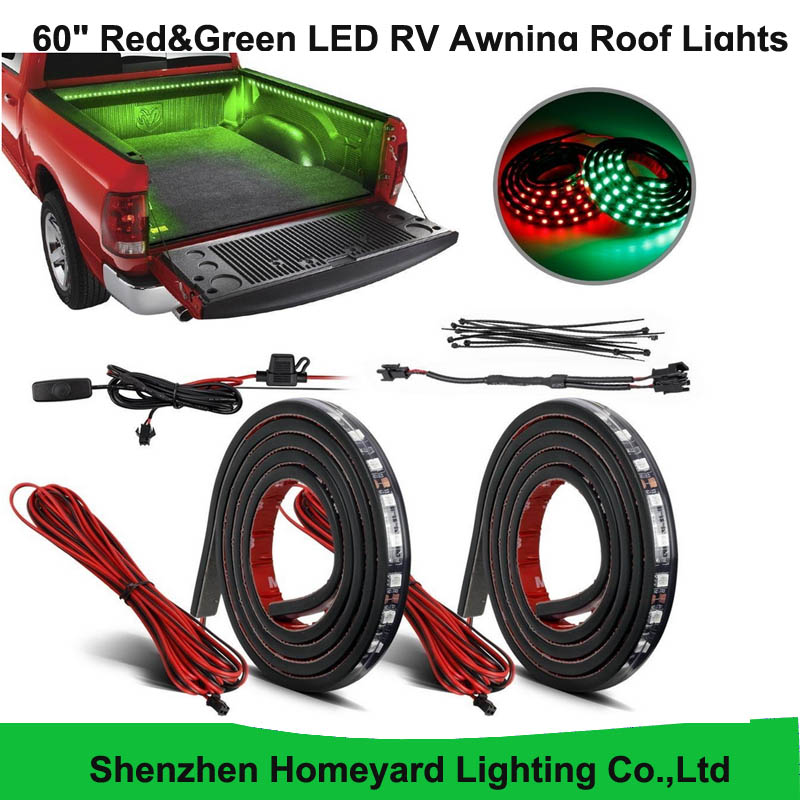 "1set/pcs 60"" Red&Green LED RV Awning Roof Lights Custom Made 90-5050-SMD Truck Bed Light for pickup(China (Mainland))"