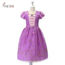 MUABABY Girls Princess Dresses Child Tangled Rapunzel Costume Kids Short Sleeve Flower Summer Party Dress Girl Birthday Clothing(China)