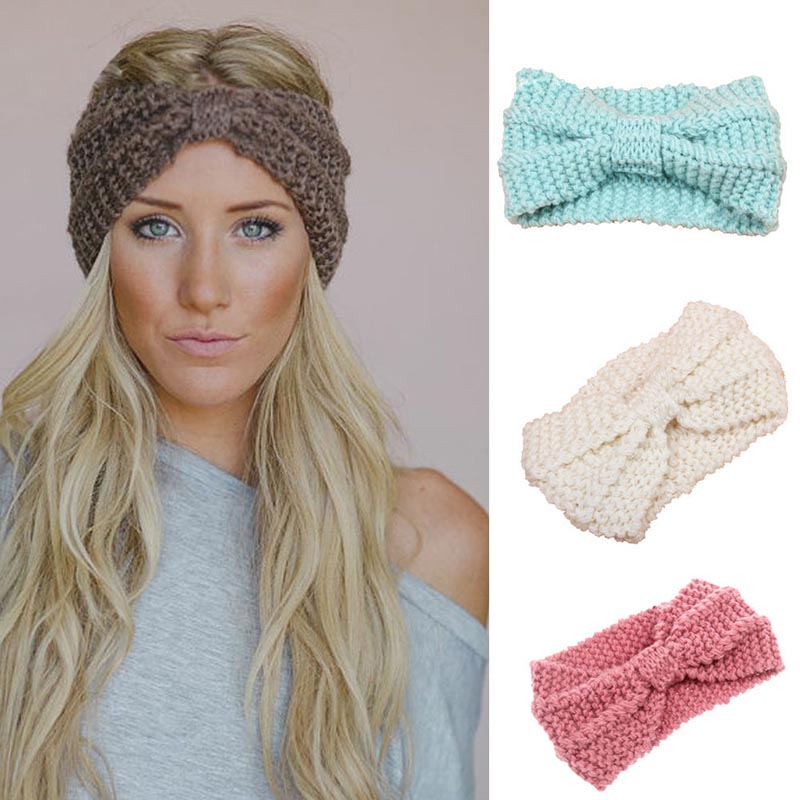 Women Fashion Crochet Bow Knot Turban Knitted Head Wrap Hairband Stylish Headband Hair Band Accessories Femme Bijouterie 55Z(China (Mainland))