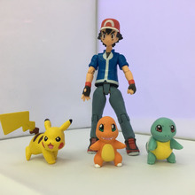 NEW hot 3.5-12cm Pikachu Ash Ketchum Squirtle movable collectors action figure toys Christmas gift doll with box