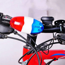 Bike Bicycle Cycling 4 Sounds 6 LED Police Car Siren Electric Light Horn Bell(China)
