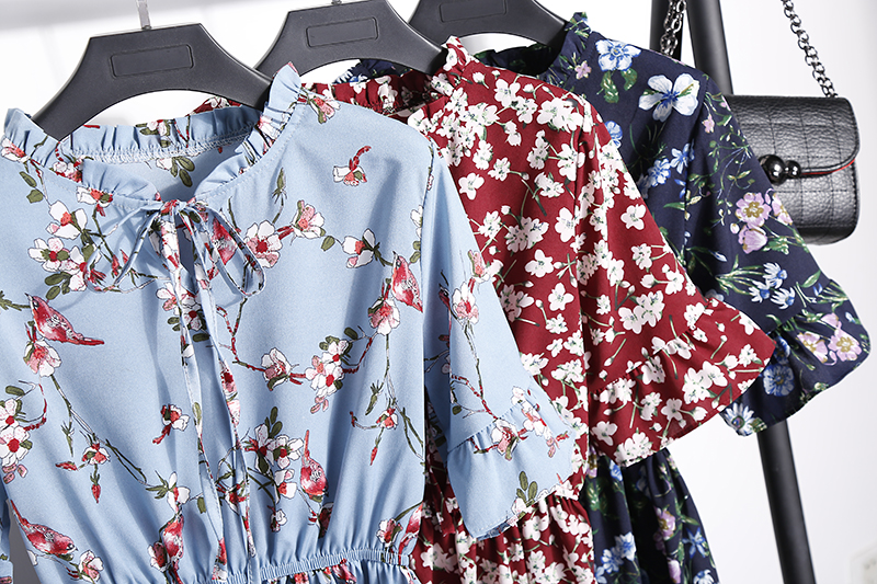 2018 Free Shipping New Fashion Floral Chiffon Summer Dresses Sweet Thin Word Slim Women Work Wear Print Dress Casual Cute Hot 12