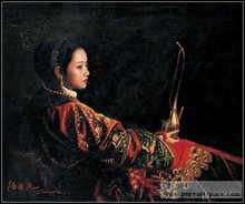 Woman in Qing dynasty - Chinese oil paintings by Chen Yifei,high-quality home decoration