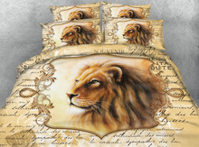 3d bedding queen size bedspread bed cover comforters sheets set twin full king size woven 500TC Royal lions animals Adult's room