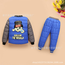Simple design winter jacket for boys&girls jacket kids winter coat + trousers children outerwear kids clothes
