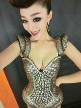 Women Sexy Beyon Diamond Sequins Bow Costumes Stage Clothes Female Singer DJ DS Dance Stage Wear Costume Nightclub Show
