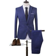 2017 New Fashion Leisure Business Suit Eight Kinds Of Color Cultivate One's Morality Men's Suit Jacket + Pants Size M-3XL