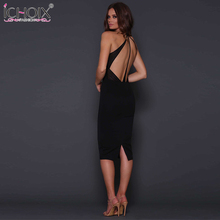 Buy ICHOIX 2018 New Women sexy Bandage Halter Dress Backless Straps Pencil Bodycon Sleeveless V neck Elegant Evening Party Dresses for $6.99 in AliExpress store