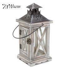 KiWarm Vintage Retro Wooden House Candle Holder Lantern Desk Decor Home Pub Bar Wedding Party Hanging Decor Ornaments Gift(China)
