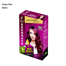 30ml*2 Professional permanent color dye cream Grape Red natural plant extracts hair dye cream fashion hair dye(China)