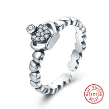 2017 925 Sterling Silver Queen Crown Heart Stackable Adjustable Finger Open Ring Women Fine Jewelry Gift(China)