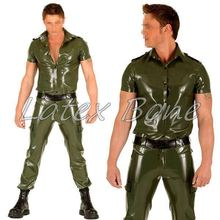 Free shipping Rubber latex uniform suit,latex shirt jacket for men