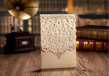 High Quality Wedding Invitation Card Pearly Khaki And Pearly White 185*128mm With Crystal Diamand Laser Arts(China)