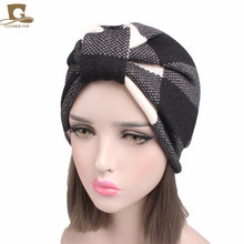 New Winter Women Knitted Warm Turban Head Wrap Turban With Fleece Linging Chemo Cap Liner For Cancer Hair Loss Ladies Turbante(China)