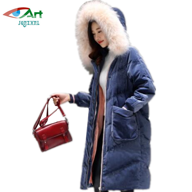 JQNZHNL New Women Medium Long Thicken Down Cotton Coats Parkas Plus Size 6XL Fashion Women Hooded Fur collar Casual Jacket AS419