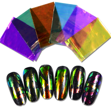 STZ 6 Colors New Broken Glass Laser Glitter Foils Nail Sticker Nail Art Decorations Self-Adhesive Women Nail Art  BL19-24