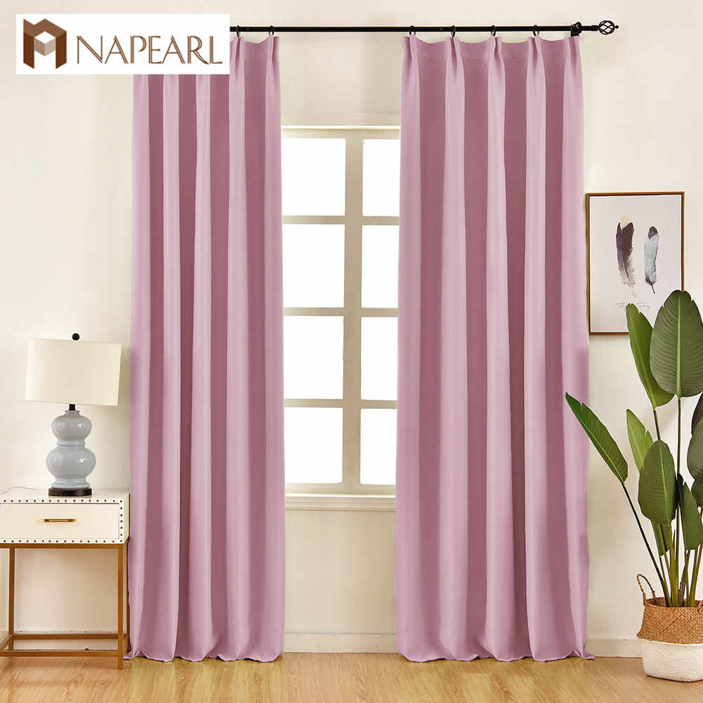 NAPEARL 1 Piece Solid Color Green Blackout Curtains Faux Cotton Linen Curtain Elegant Window Panel High Quality Stitching Drapes