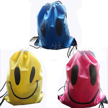 12pcs Smiley Smily Pattern Swimming Bag Cartoon Beach Bag Portable Fodable Drawstring Storage Bag Shoes Bag Drawstring Backpack(China)