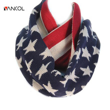 2015 Unisex Men Winter Christmas Shawl Warm Ring Loop Knit Pure Cashmere Red Blue Star Infinity Womens Wool American Flag Scarf