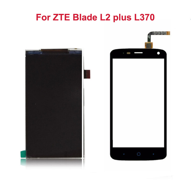 For ZTE Blade L2 plus L370 Touch Screen  5+LCD Display Screen Digitizer Glass Sensor Panel Black White Smartphone Repairtment<br><br>Aliexpress