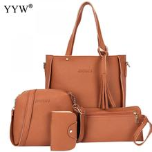 Soft Casual Tote Bags Set Buy 1 Get 4 Women's PU Leather Handbags Brands Lady's Clutch Bag Luxury Women Crossbody Shoulder Bag(China)